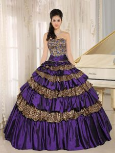 Dark Purple Leopard Ruffled and Appliqued Quinceanera Dress with Beadings