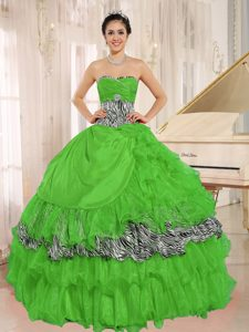 Green Sweetheart Ruffled Quinceanera Gown Dress with Zebra and Beading