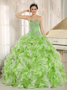 Spring Green and White Beaded Bodice and Ruffled Sweet Sixteen Quinceanera Dresses