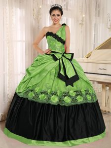 Spring Green and Black One Shoulder Quinceanera Dresses with Bowknot and Appliques