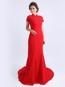Red Evening Dress Prom and Party with Lace High-neck Cap Sleeves Brush Train Backless