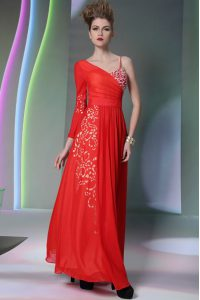 Popular Floor Length Coral Red Prom Dress Asymmetric Long Sleeves Side Zipper