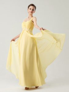 Exquisite One Shoulder Sleeveless Zipper Dress for Prom Light Yellow Chiffon