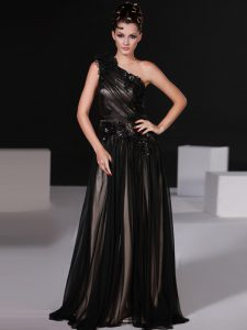 Trendy Chiffon One Shoulder Sleeveless Zipper Beading Prom Dress in Black