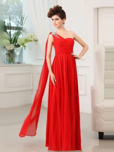 One Shoulder Sleeveless Zipper Floor Length Beading and Sashes ribbons and Ruching Homecoming Dress