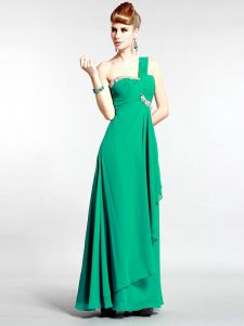 Column/Sheath Prom Dresses Green One Shoulder Chiffon Sleeveless Floor Length Zipper