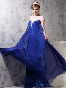 Sequins High-neck Sleeveless Zipper Royal Blue Chiffon and Sequined