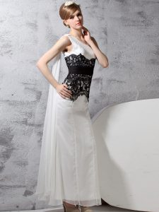 Custom Fit One Shoulder Sleeveless Floor Length Lace Side Zipper Homecoming Dress with White And Black
