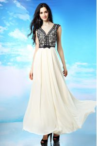 Appliques and Bowknot Prom Gown White And Black Side Zipper Cap Sleeves Ankle Length