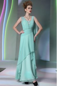 Clearance Sequins Turquoise Sleeveless Chiffon Side Zipper for Prom and Party