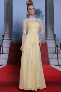 Fantastic Light Yellow Zipper Lace and Ruching Half Sleeves Floor Length
