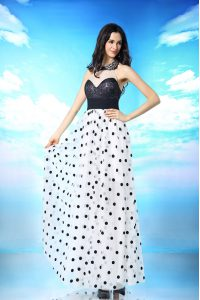 Halter Top White And Black Sleeveless Ankle Length Beading and Sequins and Ruching Side Zipper Prom Evening Gown