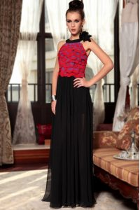 Exquisite Red And Black Dress for Prom Prom and Party with Ruching and Hand Made Flower Scoop Sleeveless Side Zipper