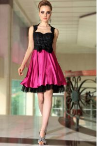 Knee Length Pink And Black Cocktail Dresses Straps Sleeveless Side Zipper