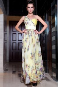 One Shoulder Light Yellow Side Zipper Prom Party Dress Beading and Pattern Sleeveless Floor Length