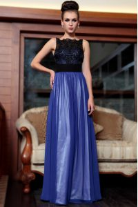 Clearance Blue And Black Sleeveless Beading and Appliques Floor Length