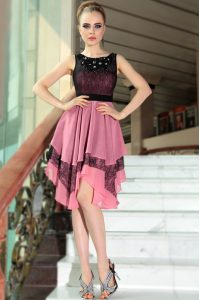 Fashionable Chiffon Scoop Sleeveless Side Zipper Beading and Lace Cocktail Dress in Pink And Black