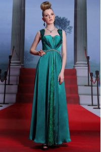 Stylish Peacock Green Column/Sheath Sweetheart Sleeveless Elastic Woven Satin Ankle Length Zipper Beading and Lace Womens Party Dresses
