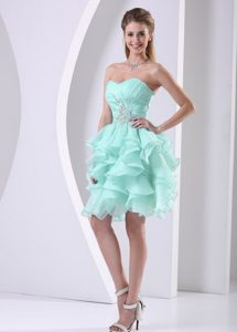 Stylish Apple Green Sweetheart Prom Mini Dress in with Ruffled Layers
