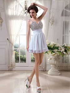 Beaded Spaghetti Straps Mini-length Dresses for Prom with Ruching