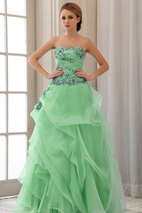 Perfect Sweetheart Green Pretty Prom Dress with Appliques and Ruffles in Tulle