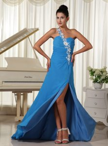 Appliqued Single Shoulder High Slit Chiffon Prom Dress in Sky Blue for Cheap