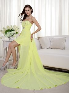 Discount Light Yellow Column High-low Chiffon Dress for Prom for Spring