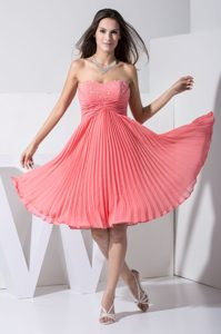Ruched and Pleated Sweetheart Watermelon Best Prom Gowns for Spring