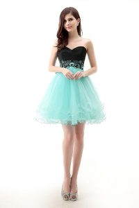 Sweetheart Sleeveless Tulle Club Wear Lace Zipper