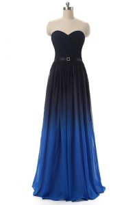 Floor Length Blue And Black Prom Party Dress Sweetheart Sleeveless Lace Up