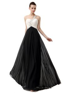 One Shoulder Floor Length Empire Sleeveless White And Black Prom Evening Gown Zipper