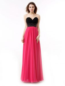 Fancy Empire Prom Dress Pink And Black Sweetheart Chiffon Sleeveless Floor Length Lace Up