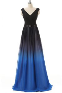 Sleeveless Beading Lace Up Juniors Evening Dress with Blue And Black Brush Train