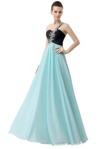 Glamorous Blue And Black One Shoulder Zipper Beading and Ruffles Prom Evening Gown Sleeveless