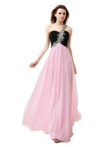 One Shoulder Pink And Black Zipper Evening Dress Beading and Appliques and Ruffles Sleeveless Floor Length