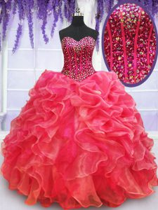 Stylish Sweetheart Sleeveless Lace Up Sweet 16 Quinceanera Dress Coral Red Organza