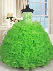 Flirting Ball Gowns Strapless Sleeveless Organza Floor Length Lace Up Beading and Ruffles Ball Gown Prom Dress
