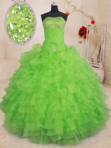 Lace Up Quinceanera Dresses Beading and Ruffled Layers Sleeveless Floor Length