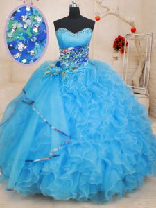 Baby Blue Sleeveless Beading and Ruffles and Pattern Floor Length Party Dress for Girls