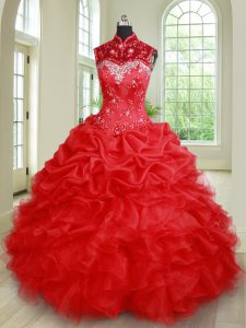 Stunning See Through Red High-neck Neckline Beading and Ruffles and Pick Ups Sweet 16 Quinceanera Dress Sleeveless Lace Up