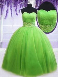 Ball Gowns Tulle Sweetheart Sleeveless Beading and Ruching Floor Length Lace Up Vestidos de Quinceanera