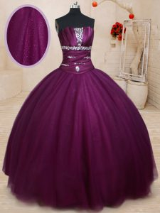 Flirting Dark Purple Sweet 16 Dresses Military Ball and Sweet 16 and Quinceanera with Beading Strapless Sleeveless Lace Up