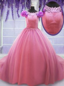 Scoop Court Train Rose Pink Cap Sleeves Beading and Hand Made Flower Lace Up Sweet 16 Dresses