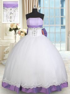 Clearance Ball Gowns Sweet 16 Dresses White And Purple Strapless Taffeta and Tulle Sleeveless Floor Length Lace Up
