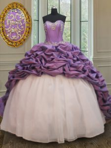 Luxurious Pick Ups With Train Ball Gowns Sleeveless White And Purple Quince Ball Gowns Court Train Lace Up