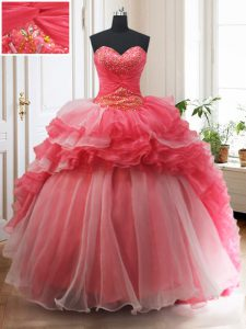 Fabulous White And Red Organza Lace Up Ball Gown Prom Dress Sleeveless With Brush Train Beading and Ruffled Layers