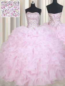 Elegant Baby Pink Ball Gowns Organza Strapless Sleeveless Beading and Ruffles Floor Length Lace Up Sweet 16 Dresses
