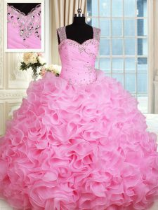 Straps Rose Pink Ball Gowns Beading and Ruffles Sweet 16 Dress Zipper Organza Sleeveless Floor Length