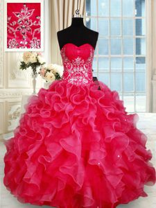 Glittering Sleeveless Beading and Ruffles Lace Up 15 Quinceanera Dress