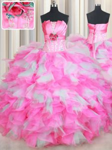 Enchanting Floor Length Lace Up Quinceanera Gowns Pink And White for Military Ball and Sweet 16 and Quinceanera with Beading and Ruffles and Hand Made Flower